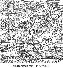 Fairy tale with knight, princess and dragon. Fantasy kingdom. Coloring page. Vector illustration