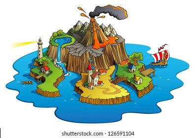 Fairy tale landscape, wonder island with town and villages, cartoon vector illustration