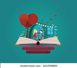 Fairy tale love story. Date in restaurant. Love, valentines day, bookshop, books. Imagination concept - valentines fairy tail story come out of a book.