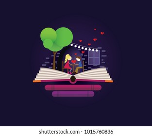 Fairy tale love story. Date in restaurant. Love, valentines day, bookshop, books. Imagination concept - valentines fairy tail story come out of a book. dark