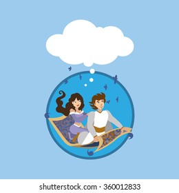 fairy tale. man and woman travel on flying carpet