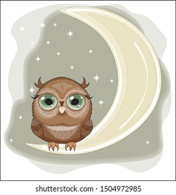 fairy tale Owl with green eyes, on the moon in night sky. The picture in hand drawing cartoon style, can be used for t-shirt print, wear fashion design, greeting card, party invitation