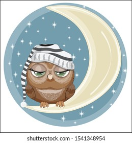 fairy tale Owl with green eyes in cap, sleep on the moon in night sky. Picture in hand drawing cartoon style, for t-shirt print, wear fashion design, greeting card, party invitation