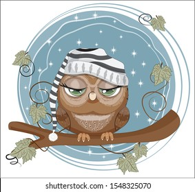 fairy tale Owl with green eyes in cap, sleep on branch in night sky. Picture in hand drawing cartoon style, for t-shirt print, wear fashion design, greeting card, party invitation