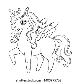 Fairy tale pegasus. Pony princess. Unicorn. Black and white vector illustration for coloring book
