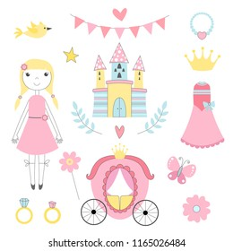 Fairy tale pictures of princess and other magician tools. Castle and princess, fairy tale coach and ring. Vector illustration