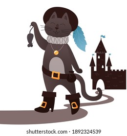 Fairy tale puss in boots. Happy cat in a hat with a feather caught a mouse, on the background of the castle