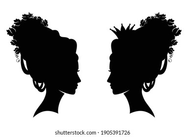 fairy tale queen or princess with rose flowers and marie antoinetee style hair black and white vector silhouette portrait