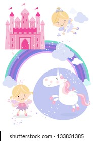 Fairy tale set icons/illustrations One pretty fairy princess with wand, one flying fairy, a winged unicorn, rainbow, fluffy clouds and a fairy castle in the sky.