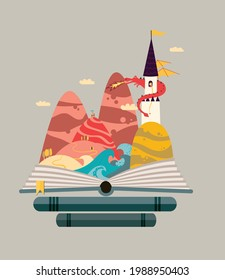 Fairy tale story - Castle on the hill with princess guard by a dragon and brave knight wanted to rescue her. Orange yellow and blue