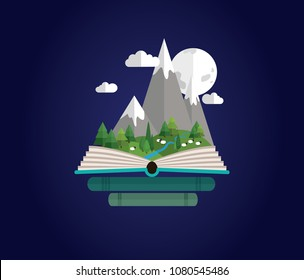 Fairy tale story, open book mountain landscape with sheep in night. Summer trip