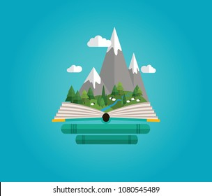 Fairy tale story. Open book. Bookshop. Trip to the mountains. Mountains landscape