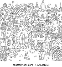 Fairy tale town. City landscape. Fantasy cityscape with vintage houses and cats. Coloring page. Colouring picture. Coloring book. Freehand sketch drawing. Vector illustration.