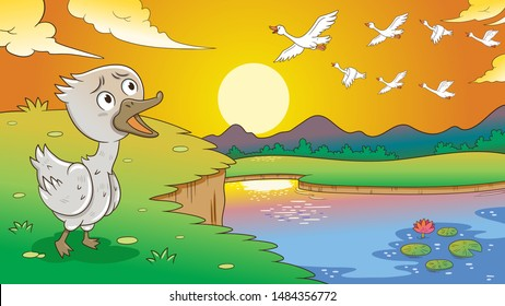 Fairy tale ugly duckling,vector illustration. Aspect ratio 16:9