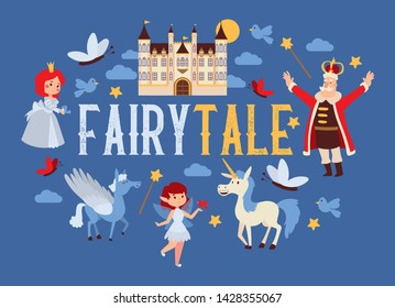 Fairy tale vector cartoon kingdom king princess character in castle fairytale palace tower backdrop royalty of unicorn pegasus illustration background.