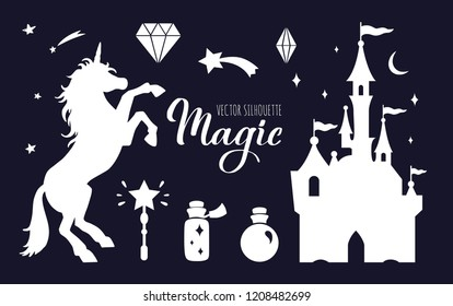 Fairy tale vector silhouette collection with Unicorn and Castle and other elements of Wizard world. Templates for interiors decor, prints, posters.