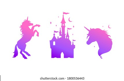Fairy tale vector silhouette collection with Unicorn and Castle . Templates for interiors decor, prints, posters