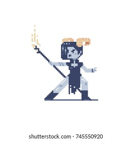 fairy tale video game girl character with magic staff, blue skin and horns, pixel art style, isolated vector illustration.