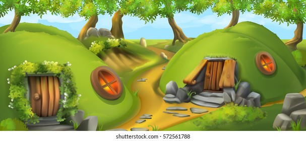 Fairy Tale Village. Leprechaun house. Nature landscape vector illustration