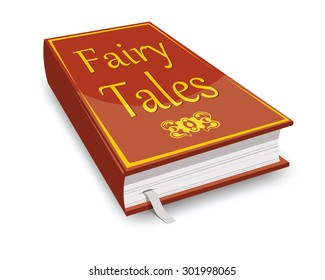 fairy tales book, red with golden letters