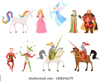 Fairy tales characters. Wizard knight queen king princess prince medieval fairy castle dragon magic set cartoon, vector fun story illustration