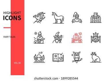 Fairy tales concept - line design style icons set. Fiction characters, fantasy and literature idea. Dragon, unicorn, knight, castle, dwarf, wizard, pumpkin carriage, king, kraken, book, owl, cat