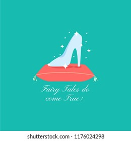 fairy tales do come true font text. wedding card invitation isolated. save the date flat design. princess cinderella heels & evening shoe concept cartoon. glass slipper vector. marry me & fall in love