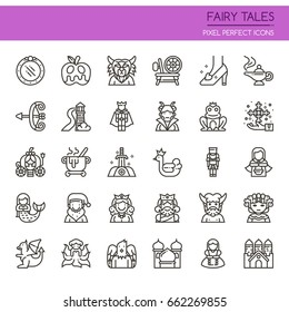 Fairy Tales Elements , Thin Line and Pixel Perfect Icons