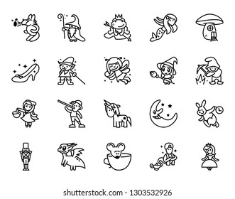 Fairy tales icons set. Set of Fantasy Related Vector Line Icons. Set of 20 minimal fable icons.