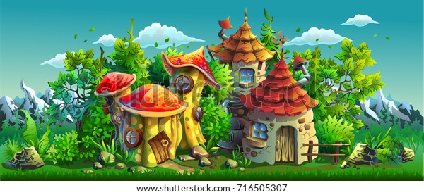 Fairy tales village with small houses. Panorama. Vector cartoon illustration.