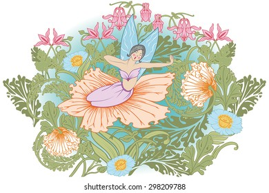 Fairy who wakes up among the flowers. Sitting inside a flower, yawns, stretches her arms.