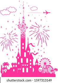 Fairytail pink castle with a landscape of attractions, fireworks and airliner. Tourist tour for children in an amusement park. Illustration, vector