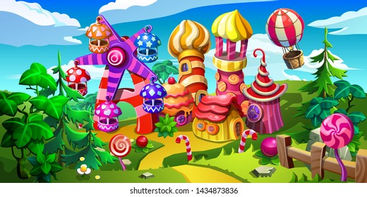 Fairytale amusement park. The carousel, the ferris wheel, houses and the aerostat are made of candies, cakes, caramel and marmalade. Vector illustration.