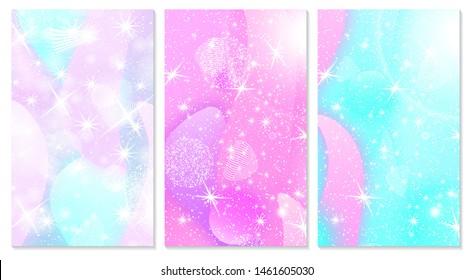 Fairytale Baby pattern. Magic stars. Princess background. Cover set. Unicorn fantasy galaxy. Pink baby background.