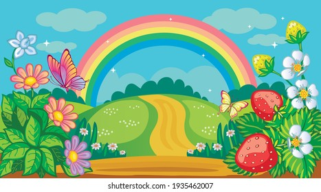Fairytale background with flower meadow, road and rainbow. Countryside or farm. Fabulous forest landscape. Bush strawberries, daisies and butterflies. Magic nature. Children's illustration. Vector.