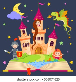 Fairytale book with castle, princess, knight, mermaid, dragon