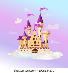 FairyTale cartoon castle. Cute cartoon castle. Fantasy flying island with fairy tale palace in clouds. Vector illustration