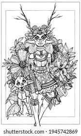 Fairytale cartoon character, girl in dress with a fluffy skirt, with long horns, big ears and round earrings, stand in vegetation and flowers with little funny goat in a shirt with bow-knot on neck.