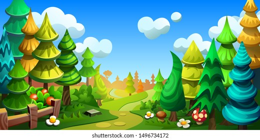 Fairytale cartoon forest. Fantastic trees and spruce. Vector illustration for background.