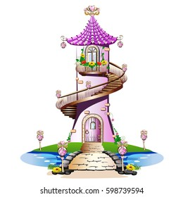Fairytale Castle. Fabulous Tower with balcony and spiral staircase.Vector
