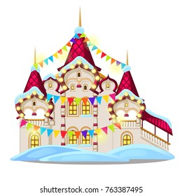 Fairytale castle festively decorated with garlands and multicolored flags isolated on white background. Sketch of Christmas festive poster, party invitation, holiday card. Vector cartoon close-up.