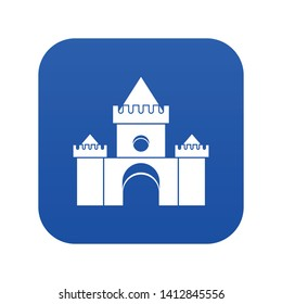 Fairytale castle icon digital blue for any design isolated on white vector illustration
