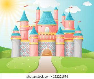 FairyTale castle illustration. EPS 10 vector.