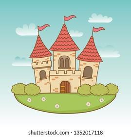 fairytale castle in the landscape scene