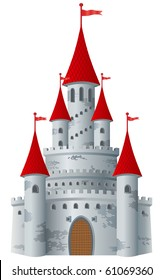 Fairy-tale castle on white background. Vector illustration.  (More castles in my portfolio)