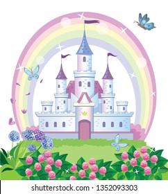 A fairy-tale castle for a Princess. Beautiful flower meadow and rainbow. Wonderland. Children cartoon illustration. Vector.