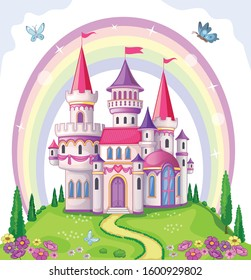 Fairy-tale castle for Princess, magic kingdom. Vintage Palace and beautiful flower meadow with rainbow. Wonderland. Children cartoon illustration. Romantic story. Vector.
