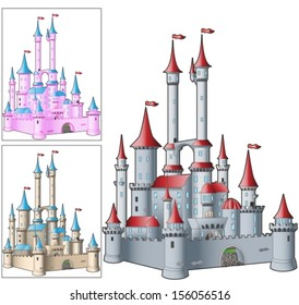 fairytale castle in three variants of color. Vector illustration