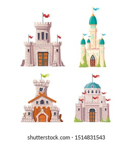 Fairytale castles, fantasy fortresses set. Medieval citadels with stone watchtowers, flags on spires, ivy growing on cracked walls. Abandoned stronghold ruins isolated, cartoon vector illustrations