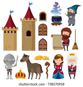 Fairytale characters and castle towers illustration